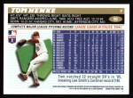1996 Topps #90  Tom Henke  Back Thumbnail