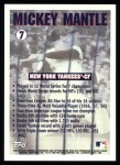 1996 Topps #7  Mickey Mantle  Back Thumbnail