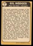 1968 Topps #27 *ERR* Gil Hodges  Back Thumbnail