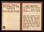 1967 Philadelphia #130  Dave Whitsell  Back Thumbnail