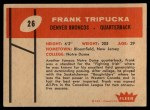1960 Fleer #26  Frank Tripucka  Back Thumbnail