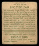 1933 Goudey Indian Gum #46  Spotted Tail   Back Thumbnail