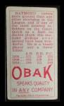 1911 T212 Obak #121 RED Raymond  Back Thumbnail