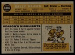 1960 Topps #406  Billy Klaus  Back Thumbnail