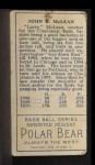 1911 T205 #126  Larry McLean  Back Thumbnail