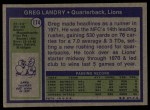 1972 Topps #174  Greg Landry  Back Thumbnail