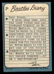 1964 Topps Beatles Diary #2 A John Lennon  Back Thumbnail