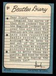 1964 Topps Beatles Diary #9 A Paul McCartney  Back Thumbnail