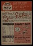 1953 Topps #239  Jim Delsing  Back Thumbnail
