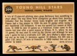 1960 Topps #399   -  Milt Pappas / Jack Fisher / Jerry Walker Young Hill Stars Back Thumbnail