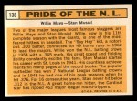 1963 Topps #138   -  Willie Mays / Stan Musial Pride of NL   Back Thumbnail