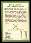 1963 Fleer #17  Norm Siebern  Back Thumbnail