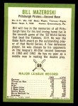 1963 Fleer #59  Bill Mazeroski  Back Thumbnail