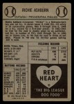 1954 Red Heart  Richie Ashburn  Back Thumbnail