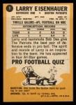 1967 Topps #9  Larry Eisenhauer  Back Thumbnail