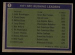 1972 Topps #2   -  John Brockington / Steve Owens / Willie Ellison NFC Rushing Leaders Back Thumbnail