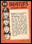 1964 Topps Beatles Color #50   Paul,George and Ringo perfoming Back Thumbnail