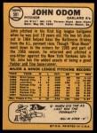 1968 Topps #501  Blue Moon Odom  Back Thumbnail