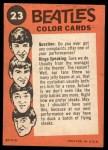 1964 Topps Beatles Color #23   John, Paul and Ringo Back Thumbnail