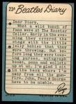 1964 Topps Beatles Diary #23 A Ringo Starr  Back Thumbnail