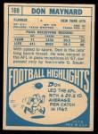 1968 Topps #169  Don Maynard  Back Thumbnail