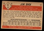 1953 Bowman #111  Jim Dyck  Back Thumbnail