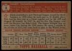 1952 Topps #3 RED Hank Thompson  Back Thumbnail