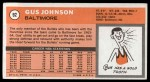 1970 Topps #92  Gus Johnson   Back Thumbnail