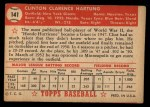 1952 Topps #141 CRM Clint Hartung  Back Thumbnail