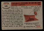 1956 Topps #10  Tom Bienemann  Back Thumbnail