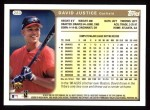1999 Topps #283  David Justice  Back Thumbnail