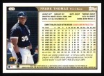 1999 Topps #423  Frank Thomas  Back Thumbnail