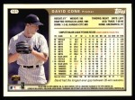 1999 Topps #101  David Cone  Back Thumbnail