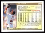 1999 Topps #380  Jim Thome  Back Thumbnail