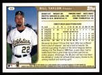 1999 Topps #69  Bill Taylor  Back Thumbnail