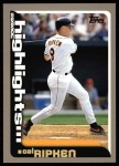 2000 Topps #457   -  Cal Ripken Season Highlights Front Thumbnail