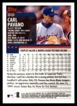 2000 Topps #99  Carl Pavano  Back Thumbnail