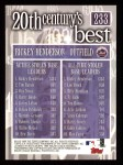 2000 Topps #233   -  Rickey Henderson 20th Century's Best Back Thumbnail