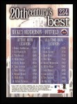 2000 Topps #234   -  Rickey Henderson 20th Century's Best Back Thumbnail