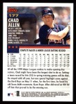 2000 Topps #177  Chad Allen  Back Thumbnail