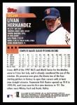 2000 Topps #308  Livan Hernandez  Back Thumbnail