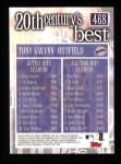 2000 Topps #468   -  Tony Gwynn 20th Century's Best Back Thumbnail