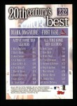 2000 Topps #232   -  Mark McGwire 20th Century's Best Back Thumbnail