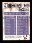 2000 Topps #229   -  Tony Gwynn 20th Century's Best Back Thumbnail