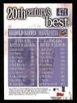 2000 Topps #471   -  Harold Baines 20th Century's Best Back Thumbnail