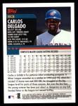 2000 Topps #93  Carlos Delgado  Back Thumbnail
