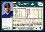2001 Topps #127  Paul Quantrill  Back Thumbnail