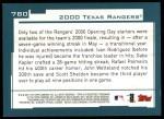2001 Topps #780   Texas Rangers Team Back Thumbnail