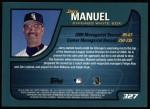 2001 Topps #327  Jerry Manuel  Back Thumbnail