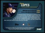 2001 Topps #342  Davey Lopes  Back Thumbnail